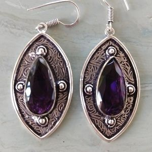 Engraved purple amethyst stamped 925 earrings